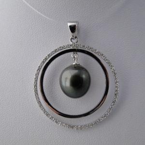 pendentif argent, zircon et perle de tahiti