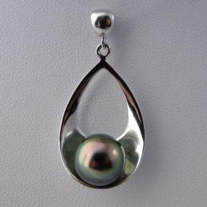 pendentif argent, perle de tahiti